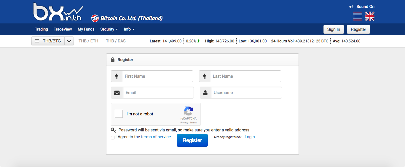 register new account in bx thailand