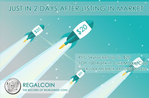 Regalcoin reaches $20 after successful ICO | REC price