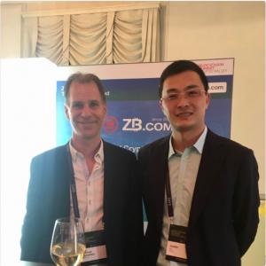 Dawei Li—Founder&CEO of ZbTalk with Stefan Lindgren, co-founder of JoorsChain at Blockchain Summit in Crypto Valley Zug, Switzerland.