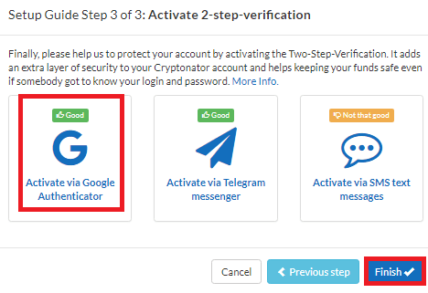 Activate via Google Authenticator