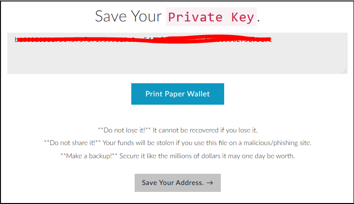 Backup your private key