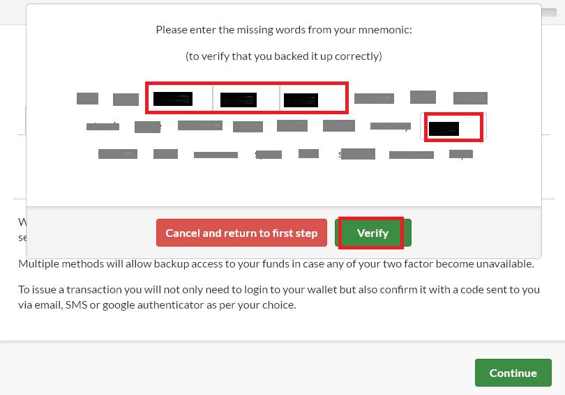 confirm mnemonic passphrase
