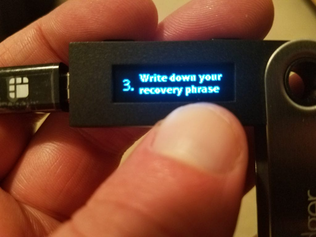Press Write Down Recovery Phrase Message