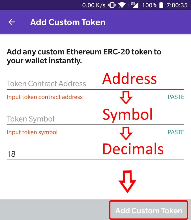 Enter token details