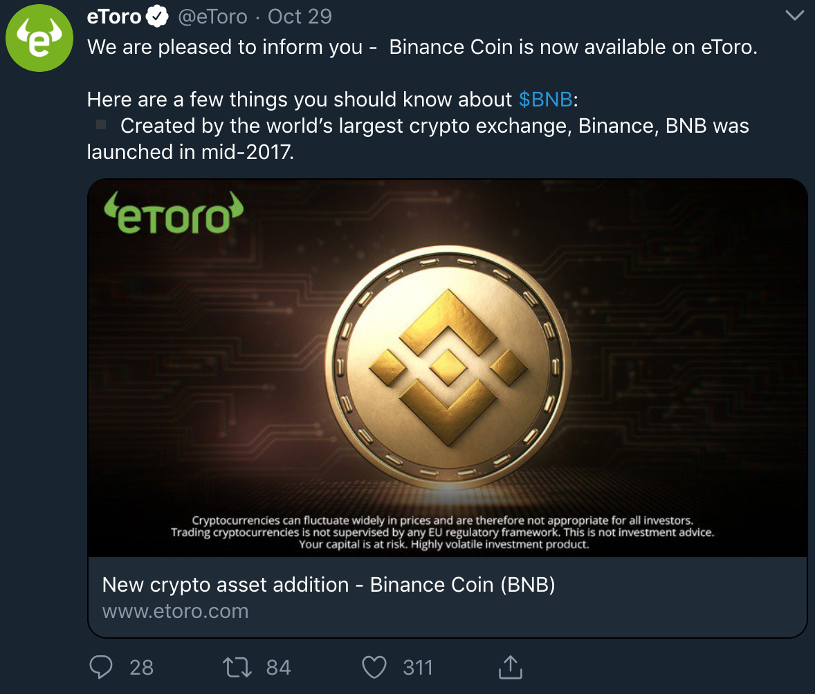 eToro Adds Binance BNB Token