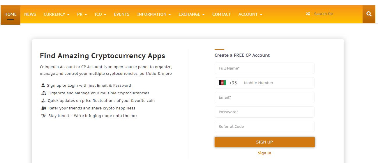 Register Coinpedia Account