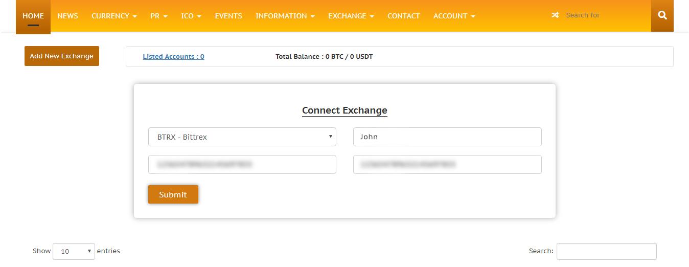 Bittrex portfolio on CP Account