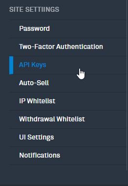 Click on Add New Key on Bittrex