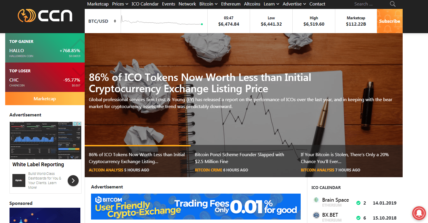 website listing new cryptocurrency