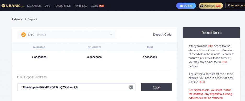 lbank trading - deposit